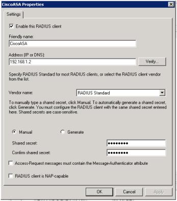 Using Windows Server 2008 as a RADIUS Server for a Cisco ASA